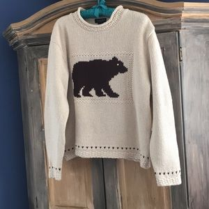 Cotton Blend Pullover With Bear Motif Size M